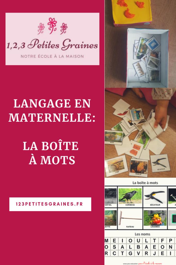 Langage maternelle boîte à mots